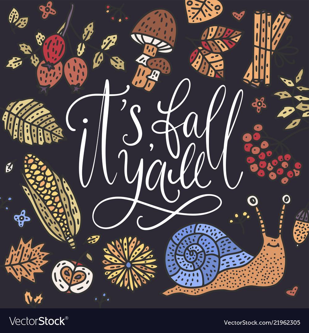 Cozy fall autumn card