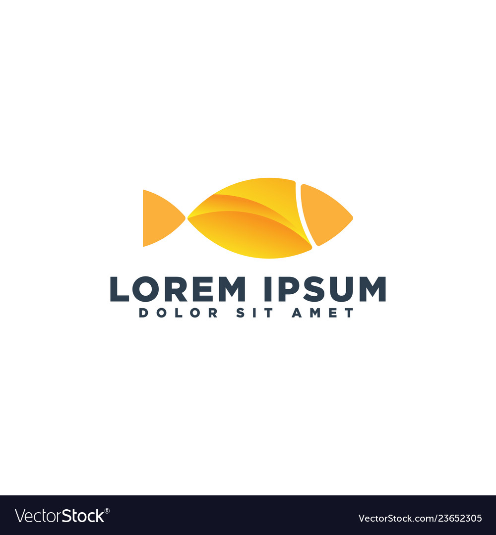 Fish icon line art logo template for business