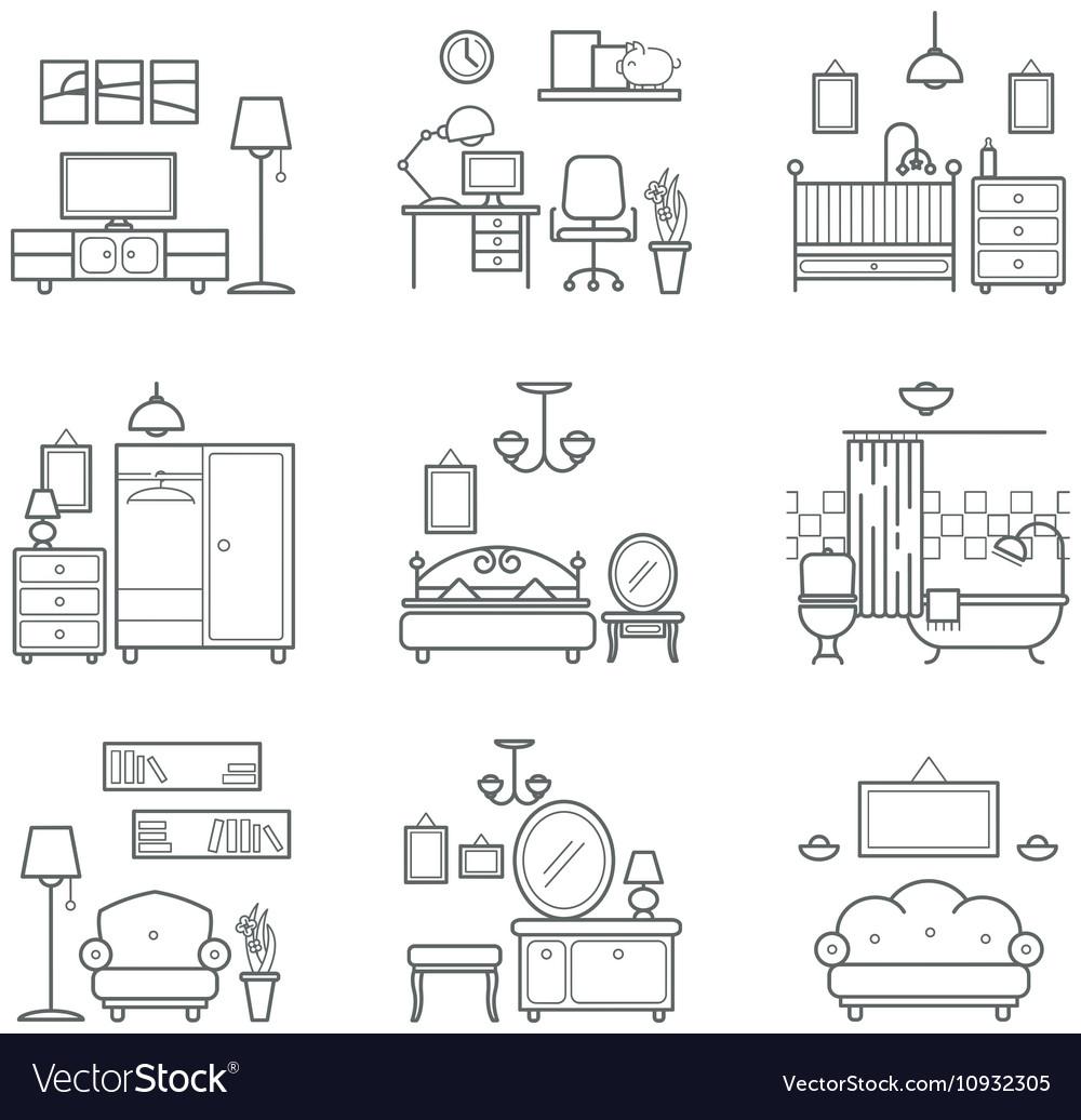 Home Room Icons Set Interior Design Room Types