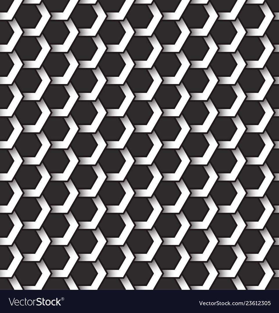 Monochrome seamless pattern of hexagonal shapes