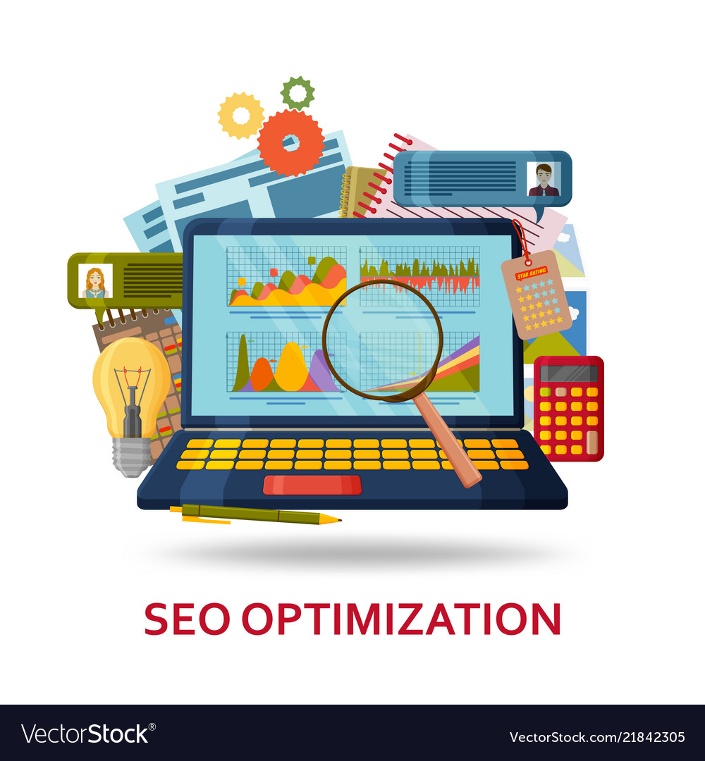 Seo content optimization background laptop with