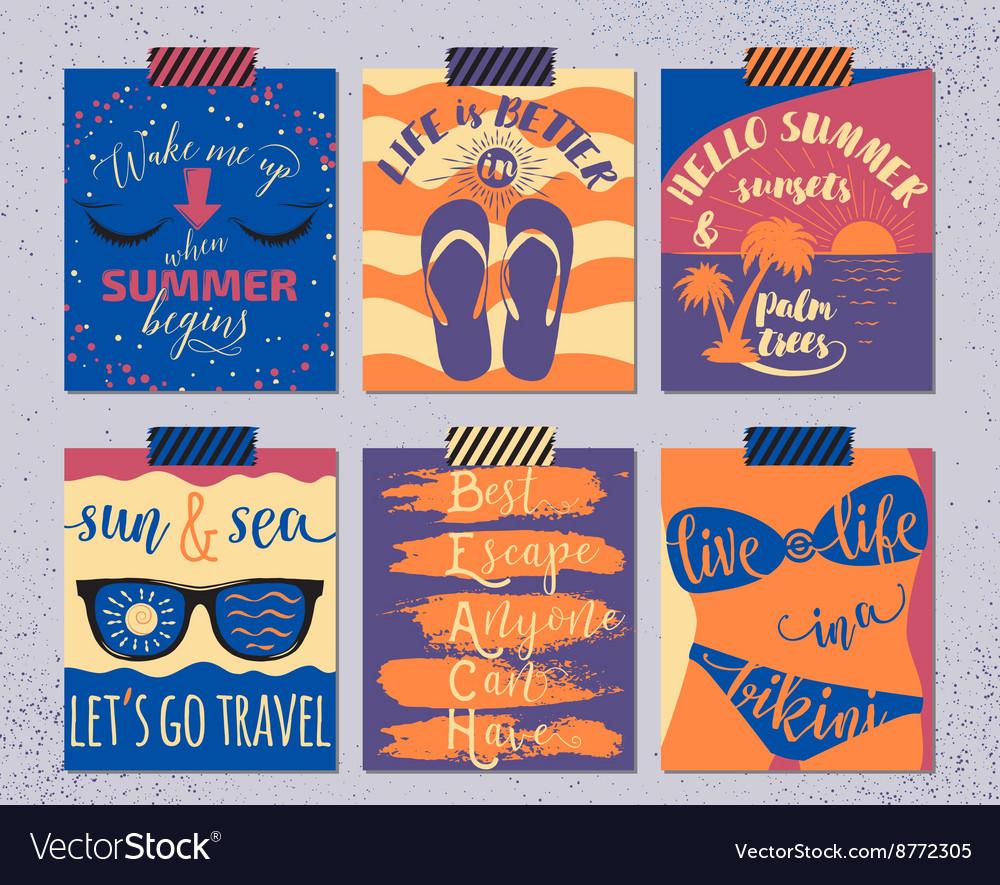 Set of retro summer cards Beautiful