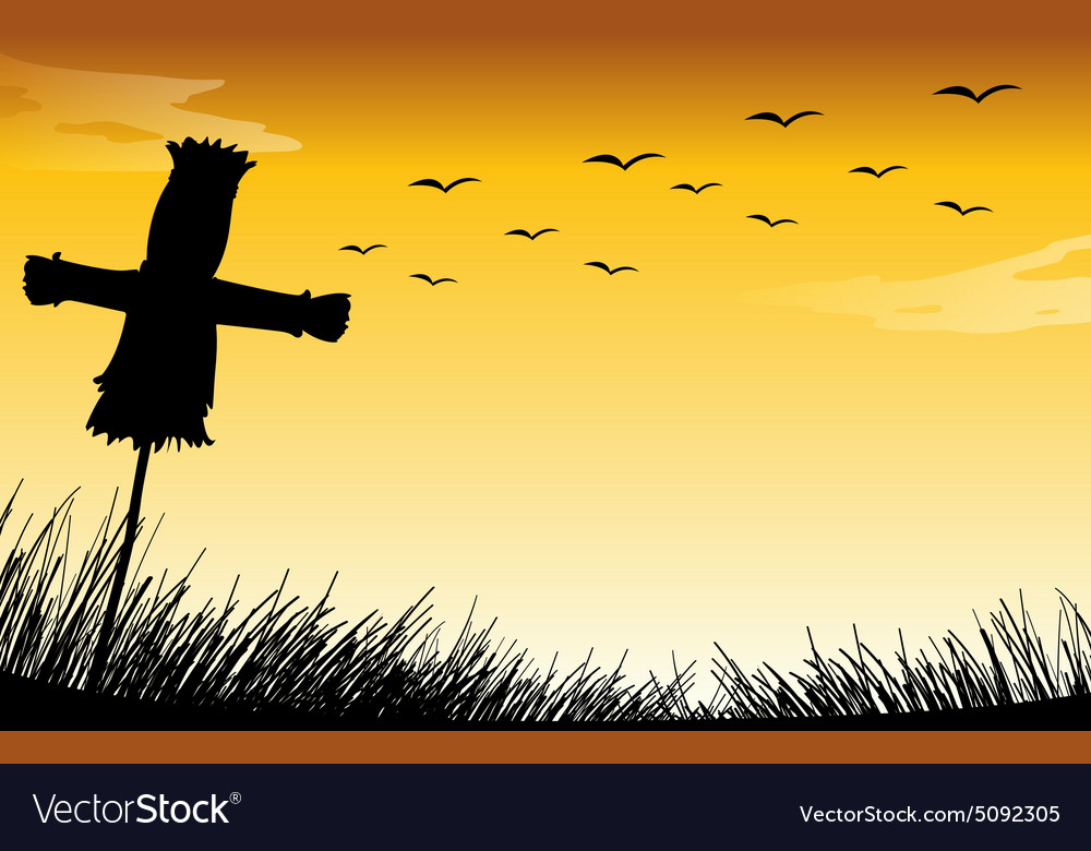 Silhouette scarecrow vector image