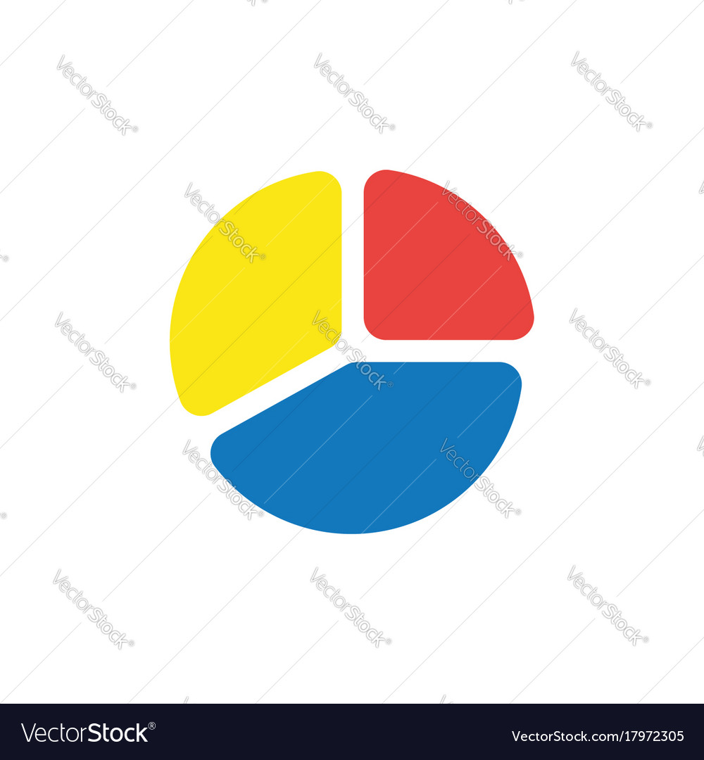Three Part Diagram Pie Chart Infographic On White Vector Image