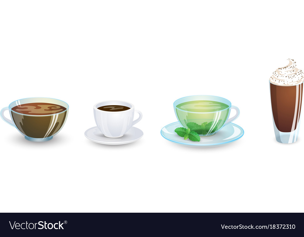 A set of cups with various hot drinks isolated