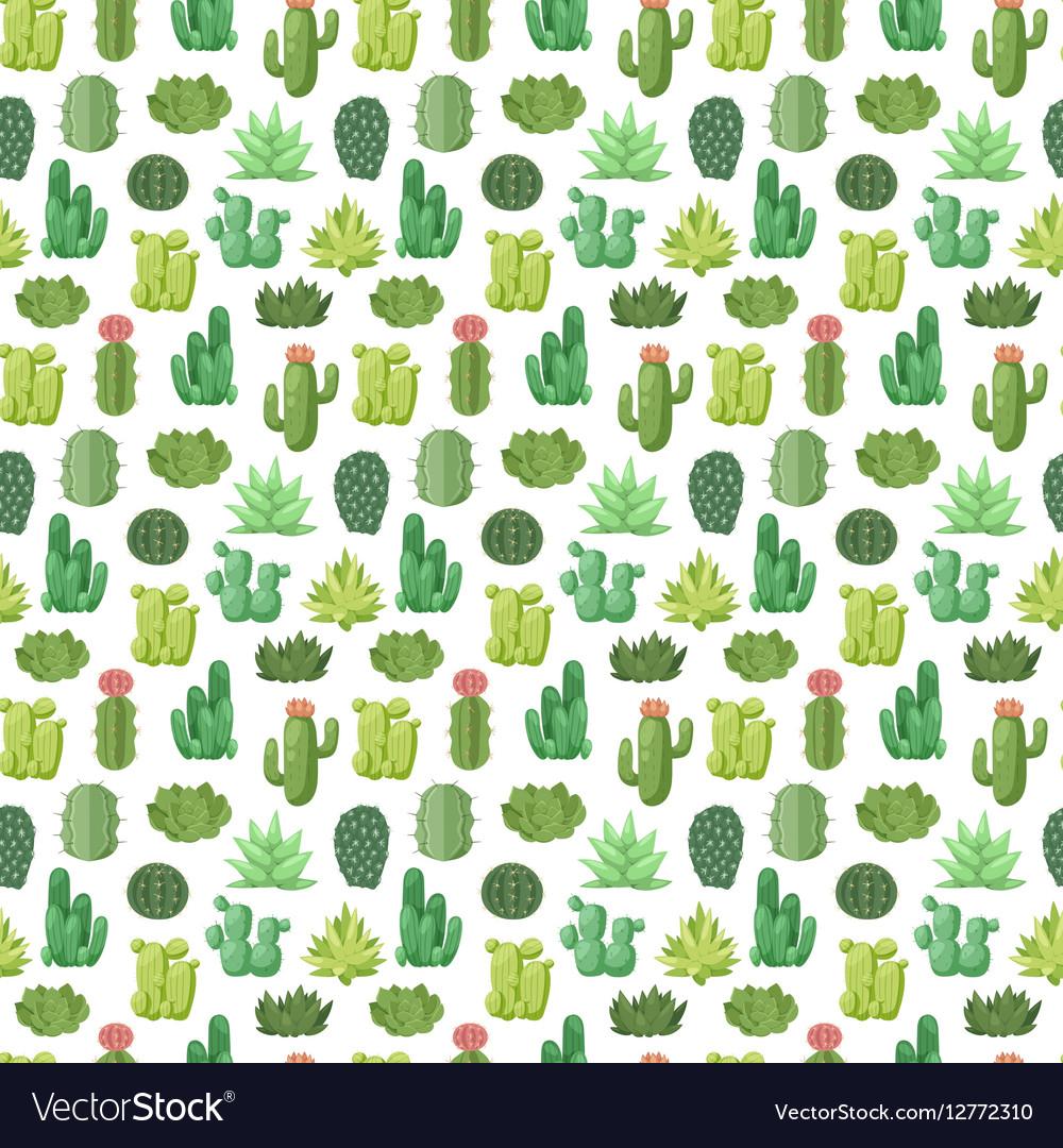 Cactus doodle seamless pattern