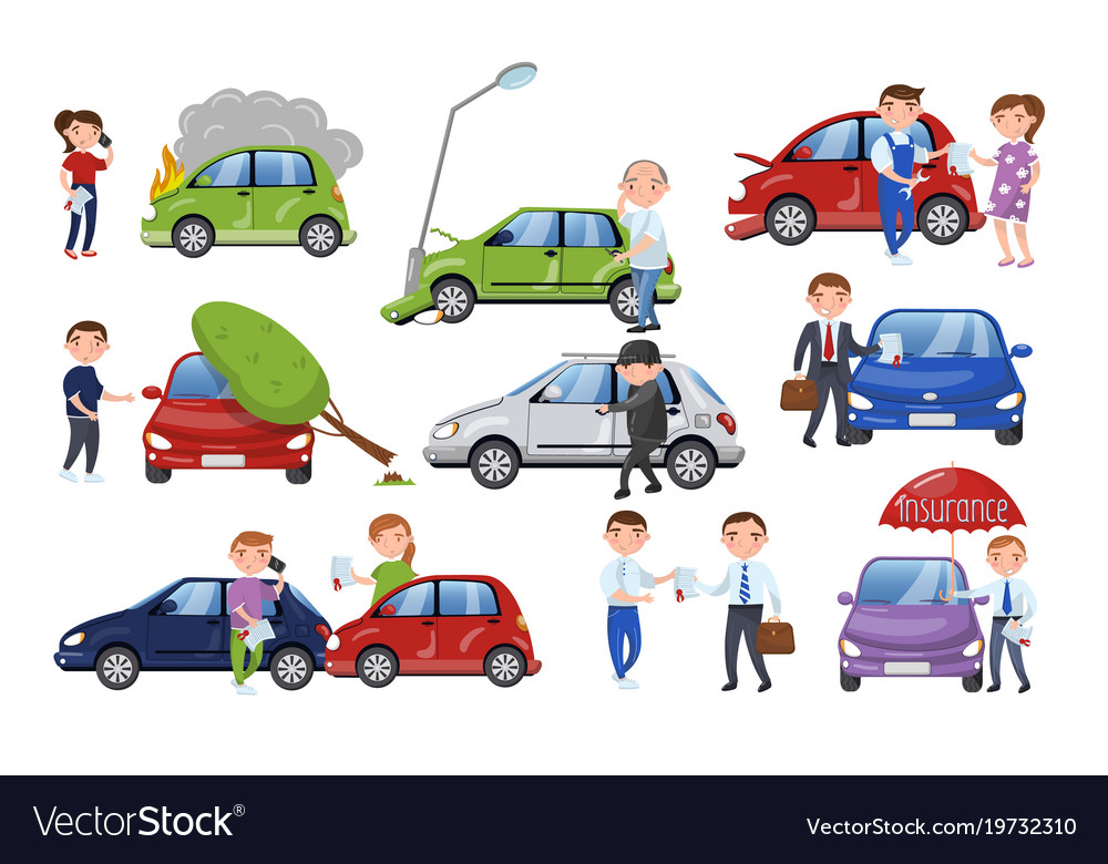 Car Insurance After Accident >> Car Crash And Accident Set Car Insurance Cartoon