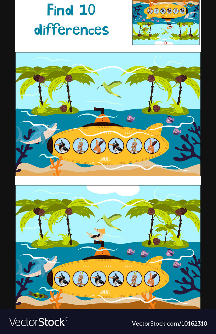 Cartoon of Education to find 10 differences in vector image