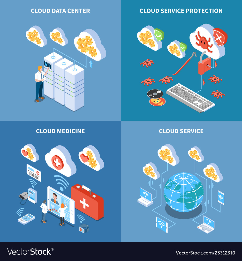 Cloud technology isometric design concept