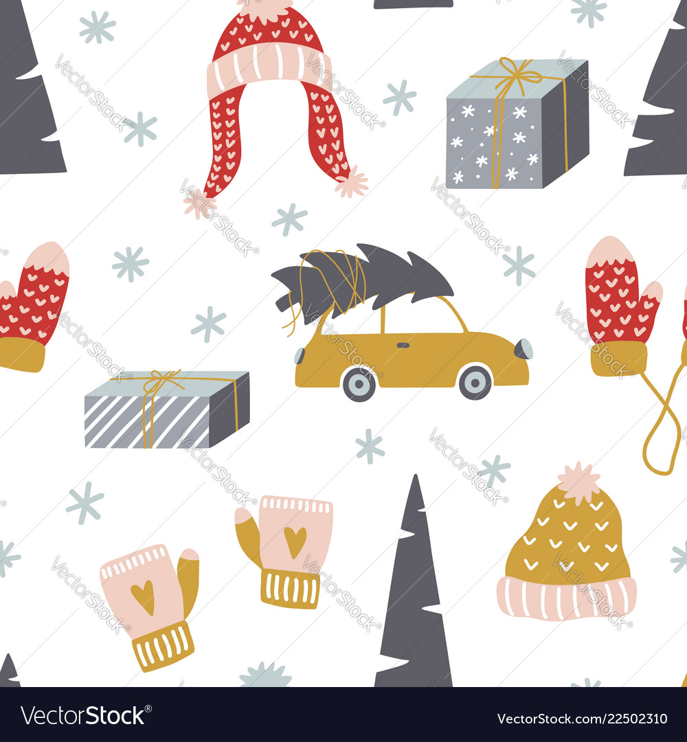 Cute winter seamless pattern design template for