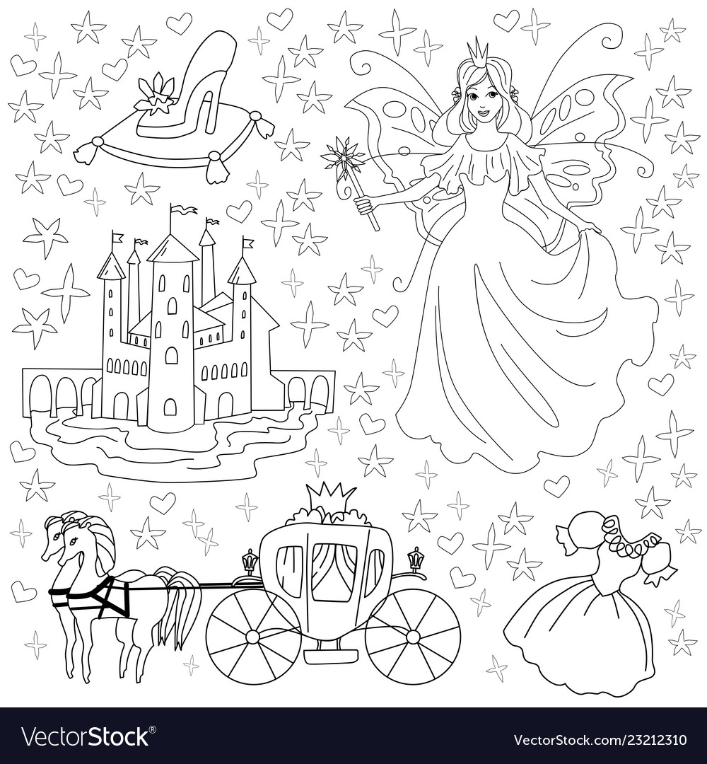 Fairy tale coloring page for kids