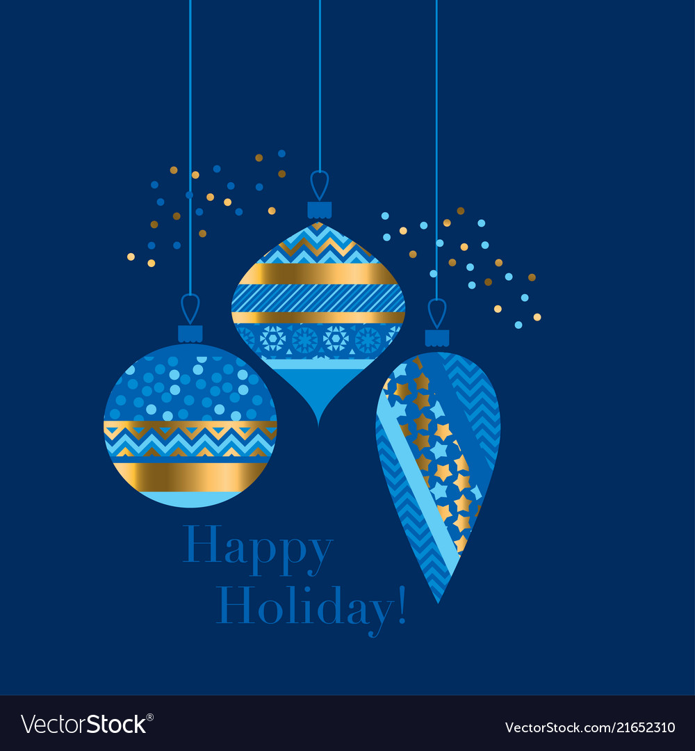 Gold and blue bauble xmas design element