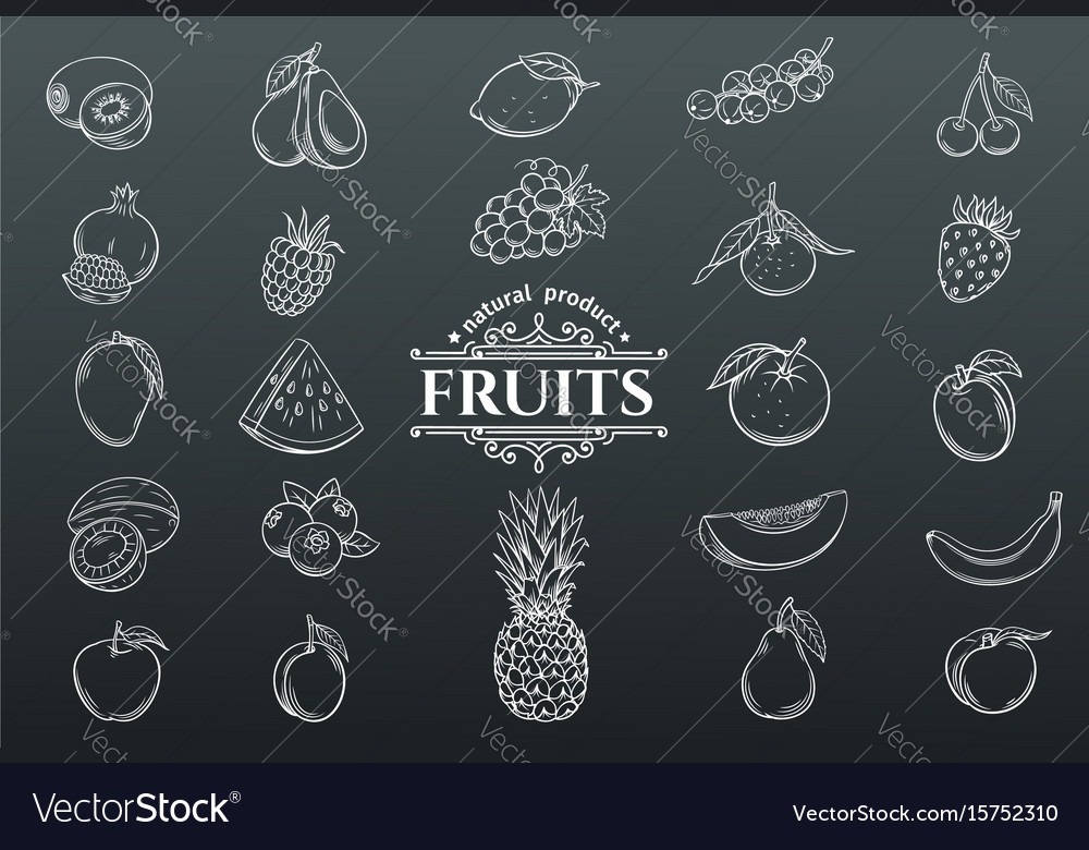 Hand drawn fruits icons set