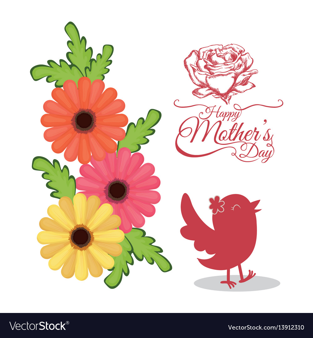 Happy mothers day invitation card with bird