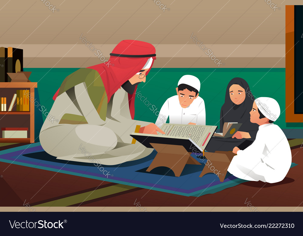 Imam reading quran with his students