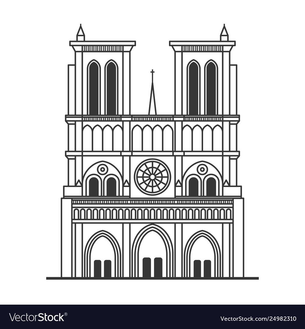 Notre dame de paris cathedral line art style