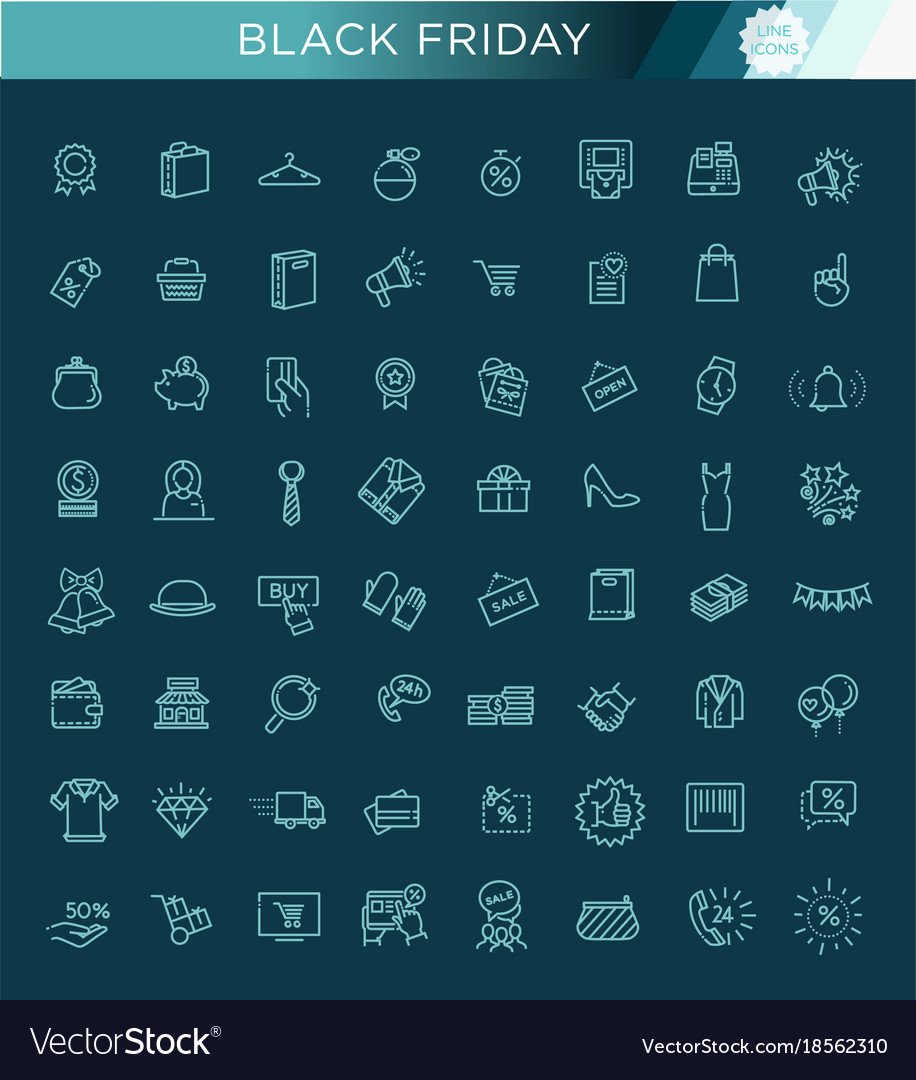 Outline icon collection - black friday big sale vector image