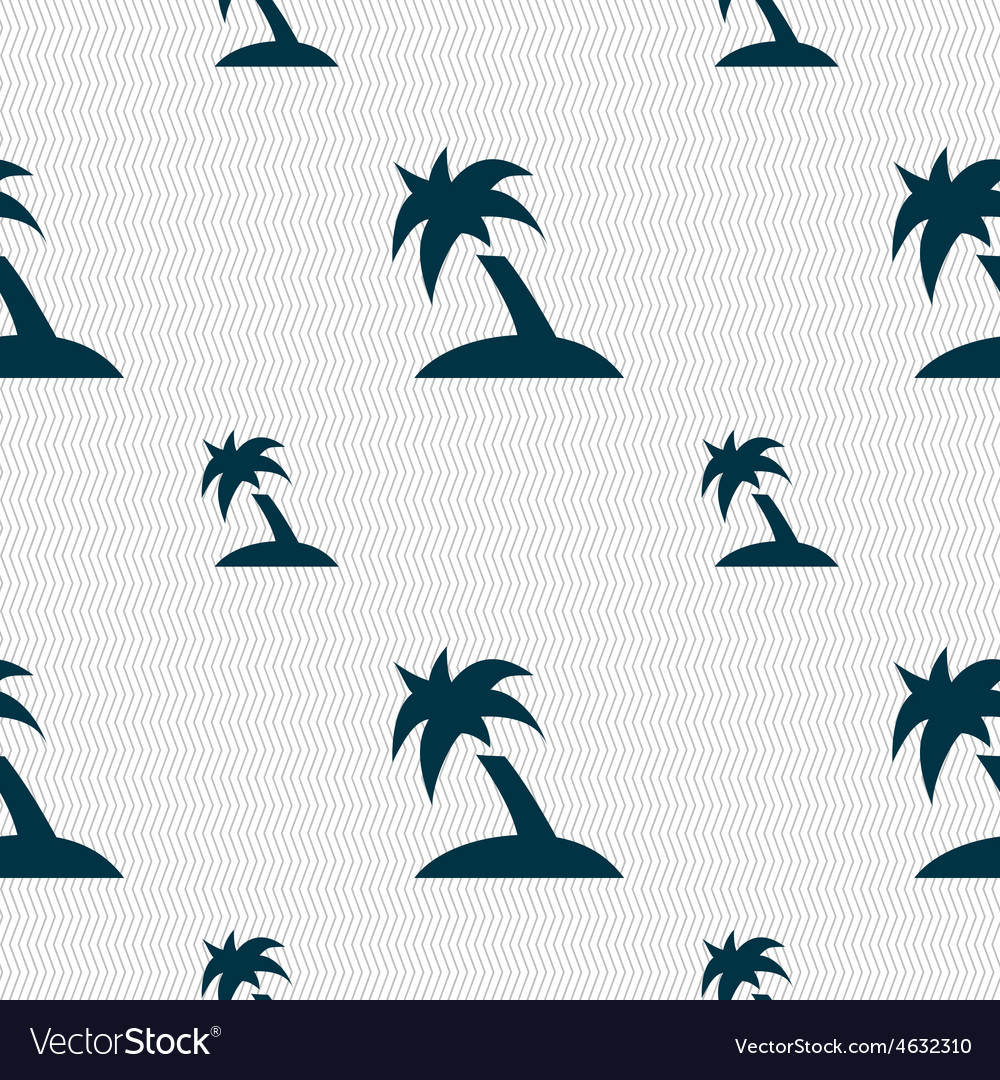 Palm Tree Travel trip icon sign Seamless pattern