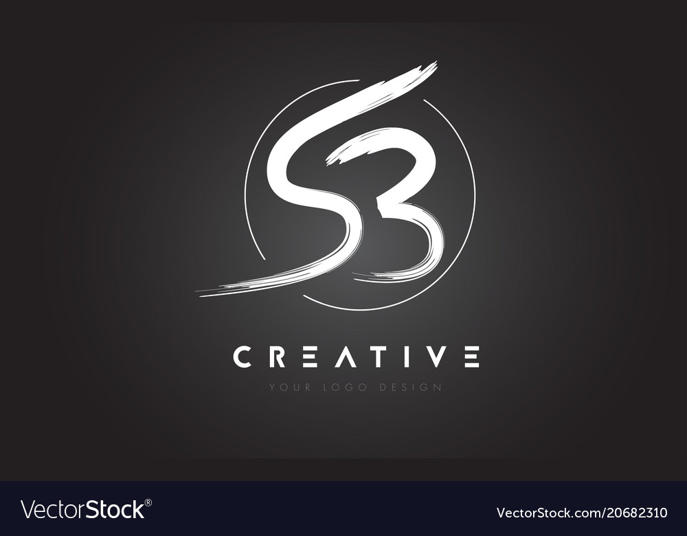 Sb brush letter logo design artistic handwritten