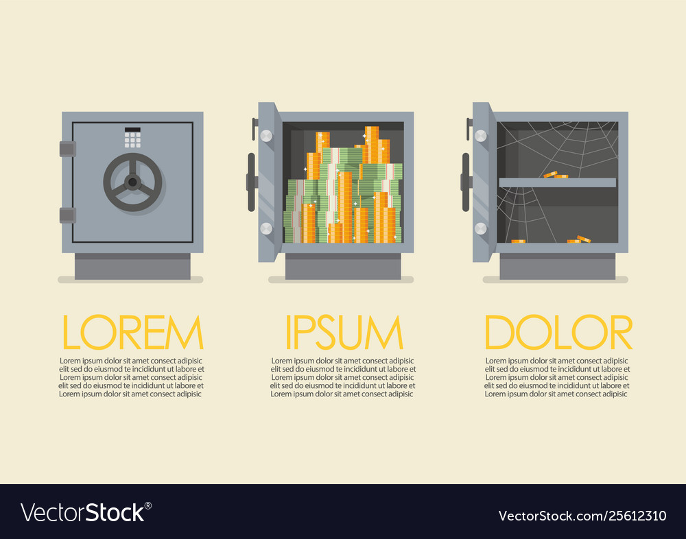 Set security metal safe infographic