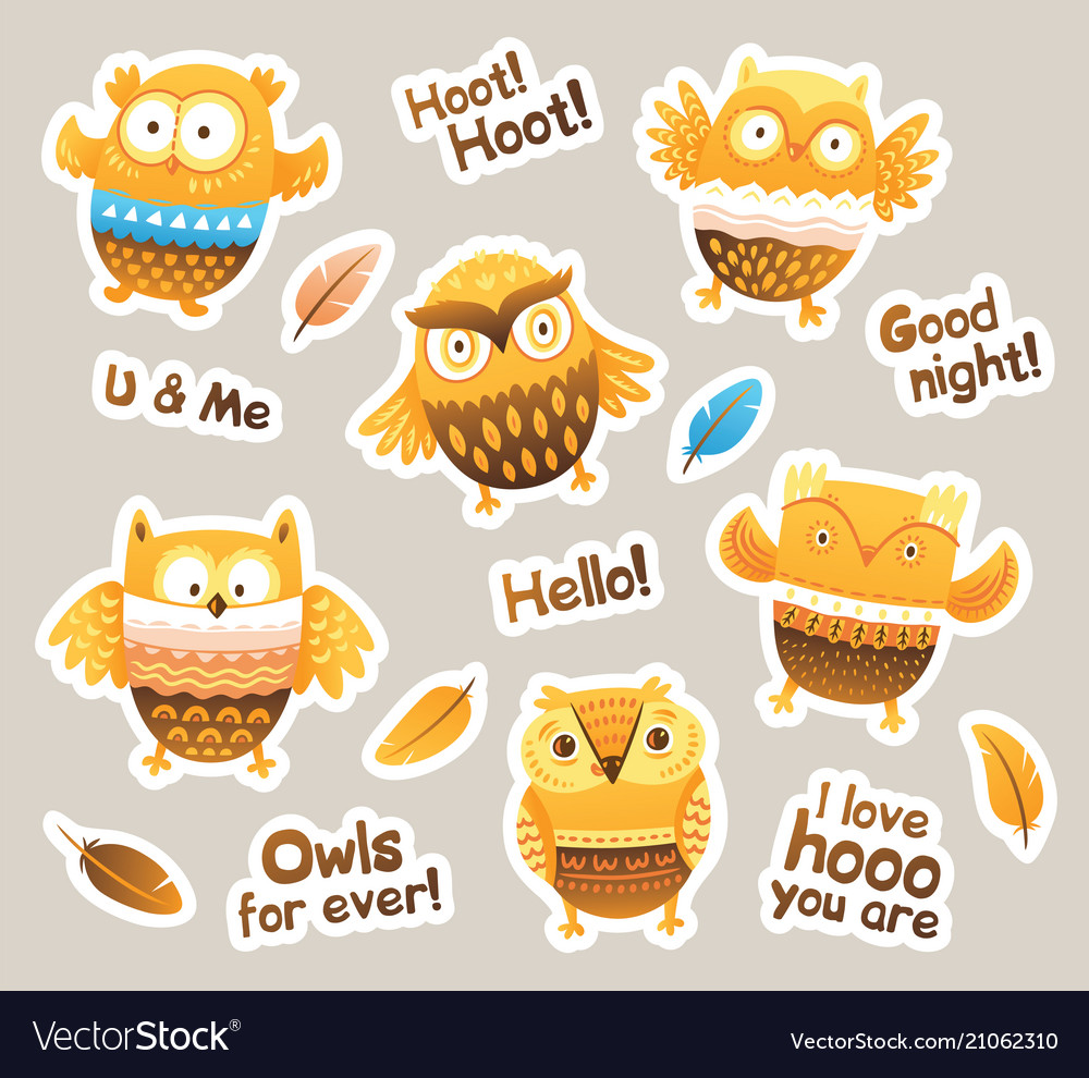 Stickers designs with birds and messages funny
