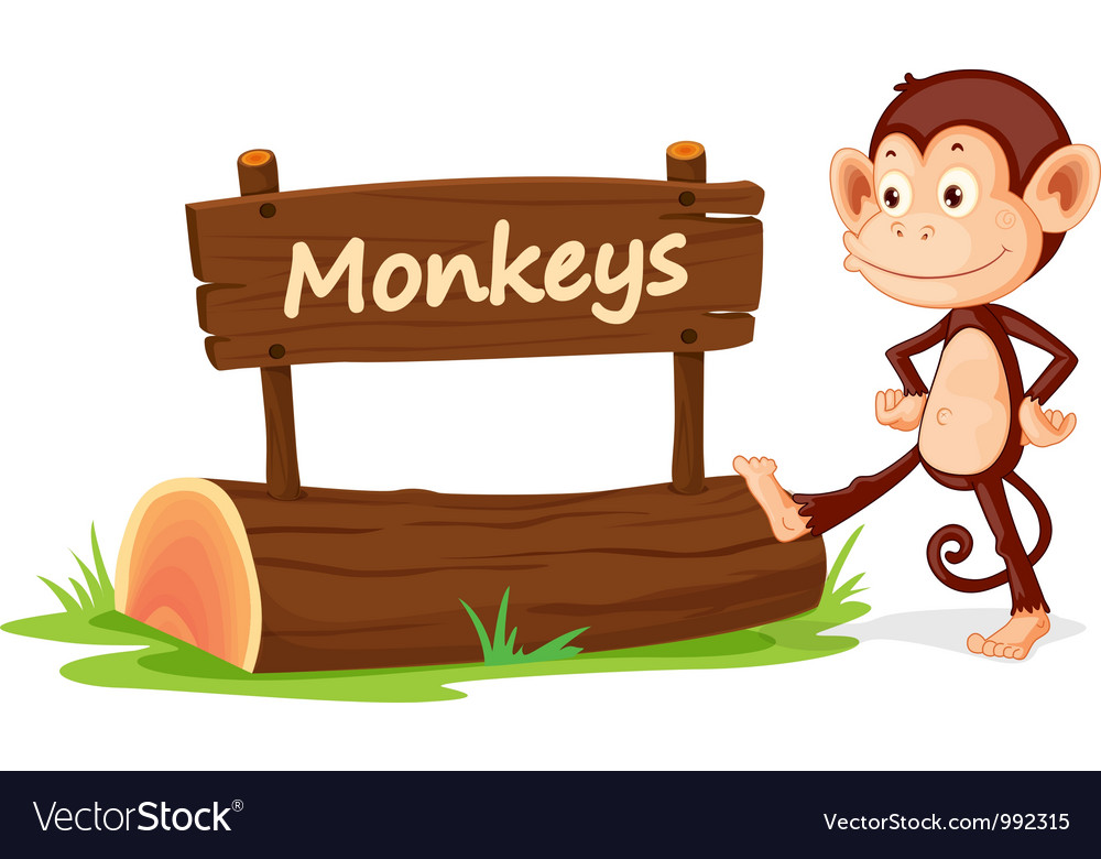 cartoon zoo monkey sign royalty free vector image