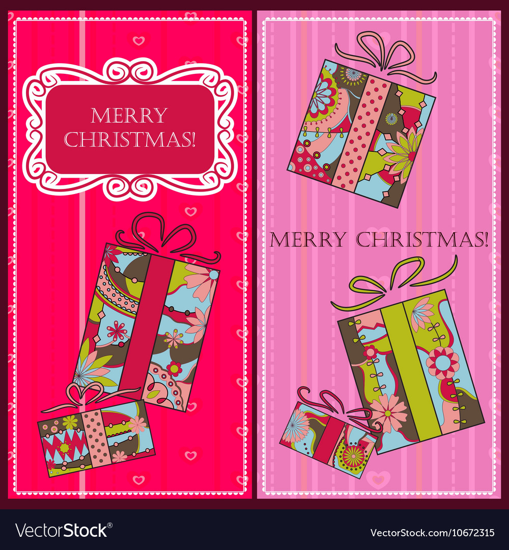 Christmas cards with gifts vector image