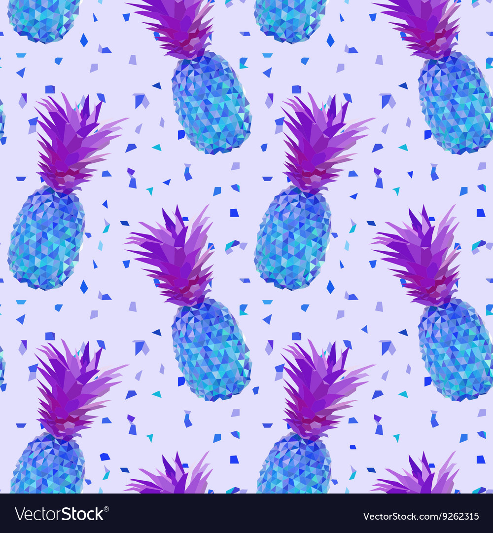 Disco low poly pineapple pattern vector image