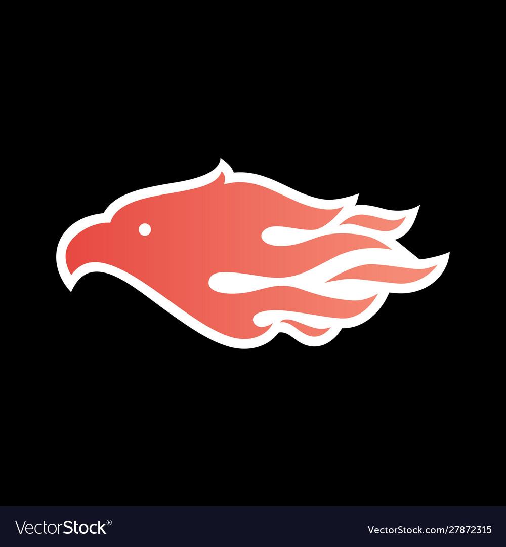 Eagle fire bird logo icon on black background