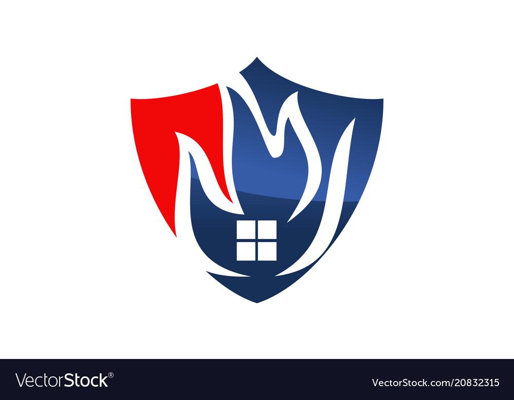 Fire shield logo design template