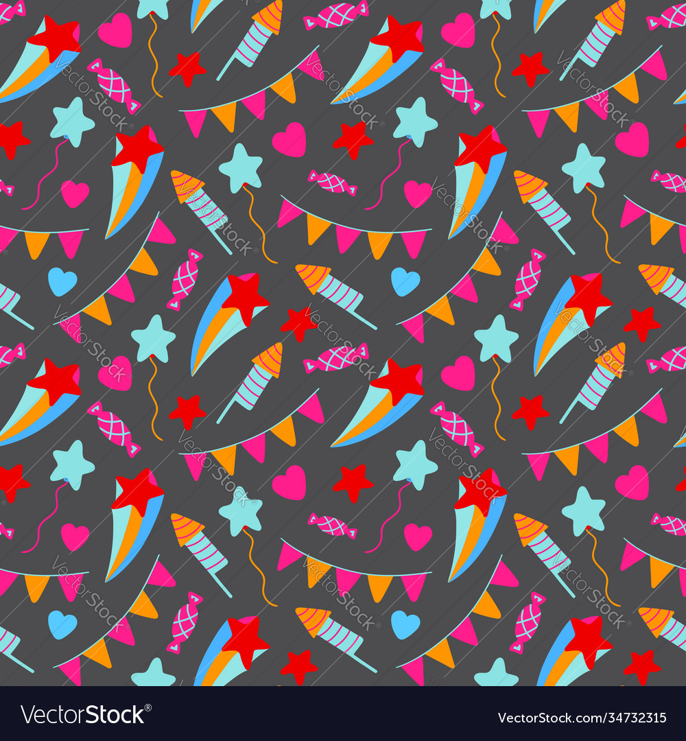 Happy birthday party seamless pattern birthday vector