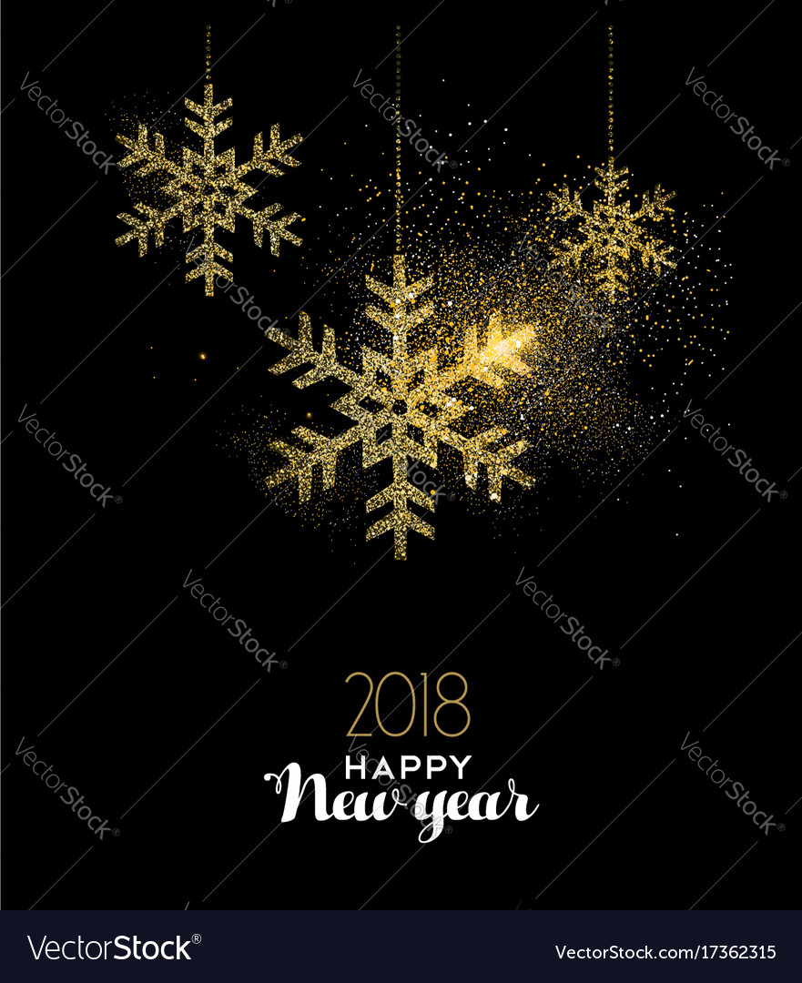 Happy new year 2018 gold glitter snow decoration