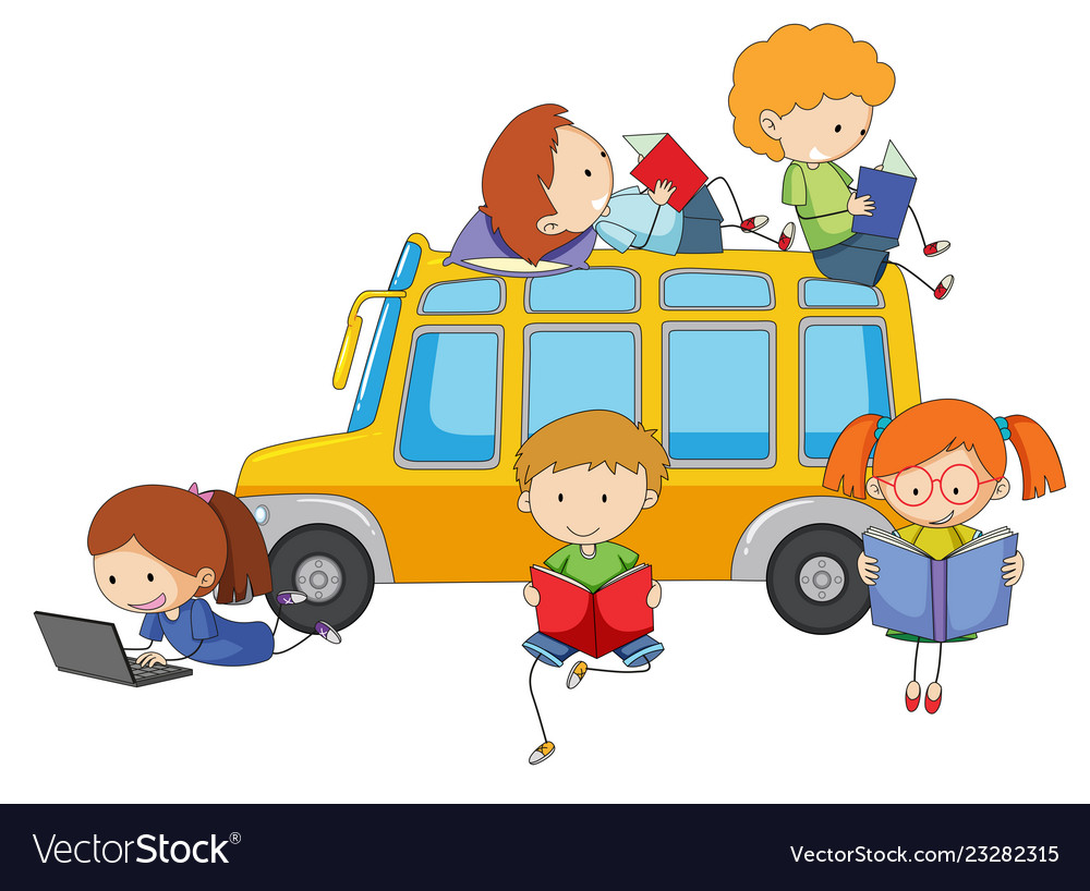 Isolated kids learning on white background vector