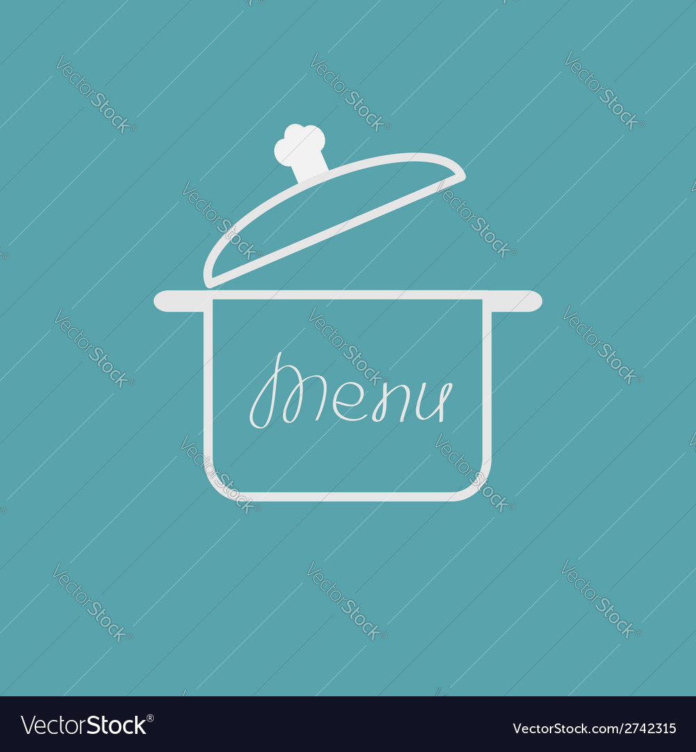 Menu cover with open saucepan Flat design style