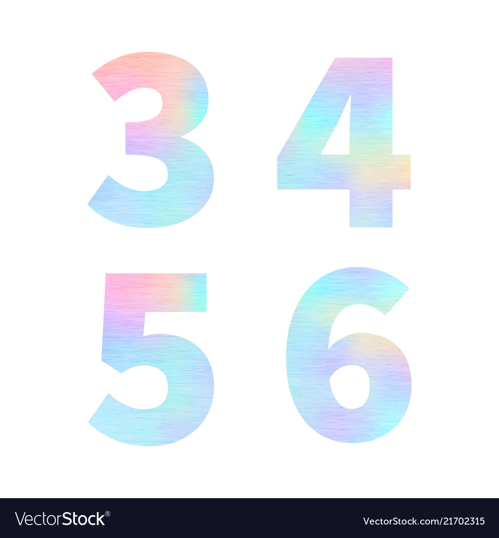 Modern 3 4 5 6 letters with bright colorful