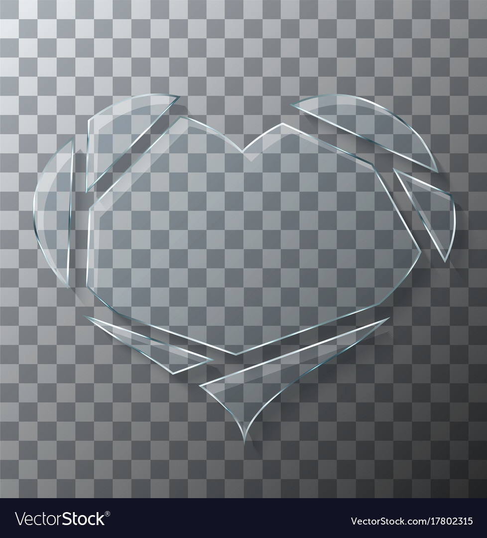 Modern concept broken heart glass on