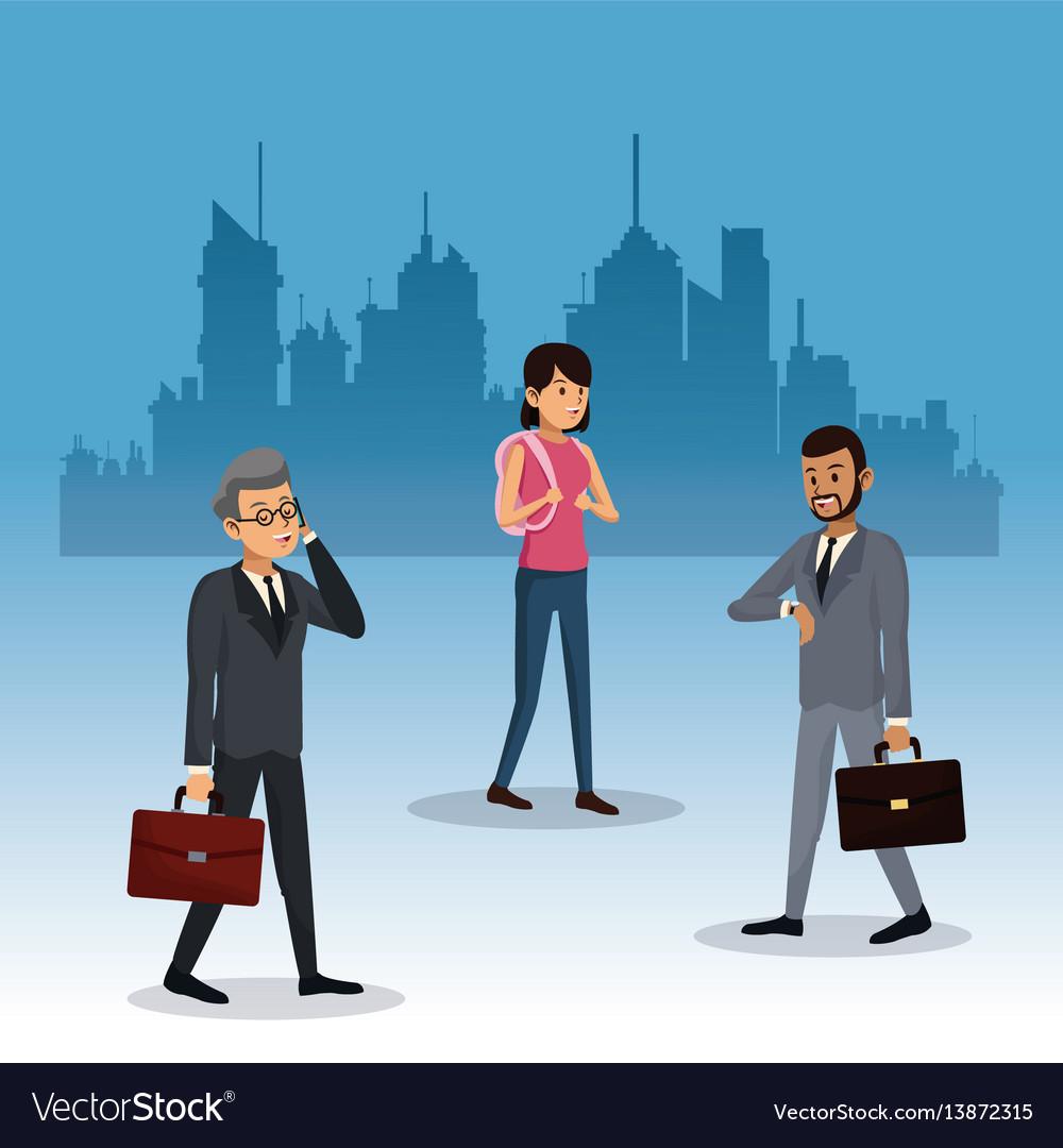 People walking city background vector image