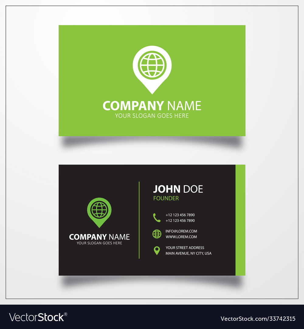 Pin with globe icon business card template