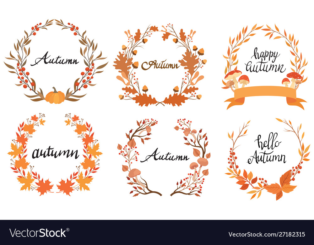 Set autumn wreaths with inscription