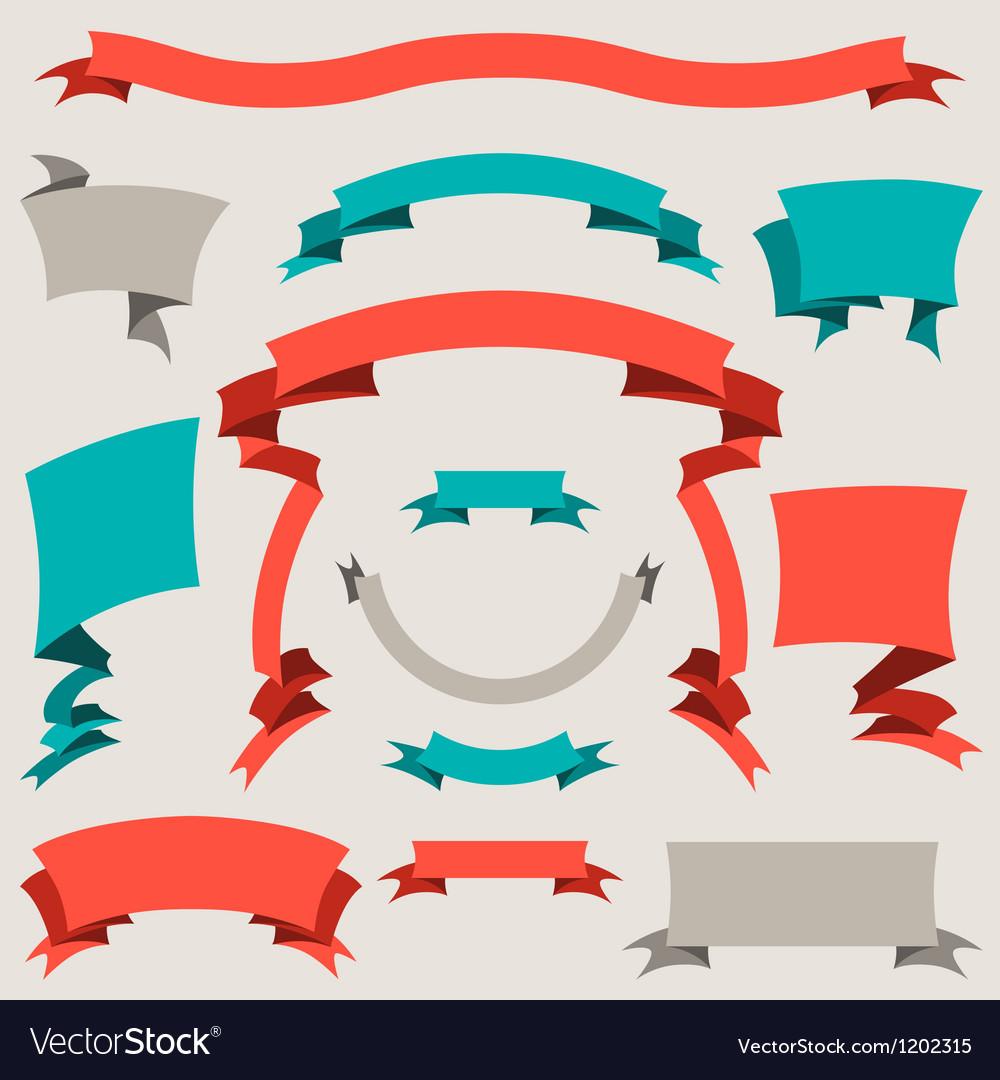 Set retro badges labels ribbons and design