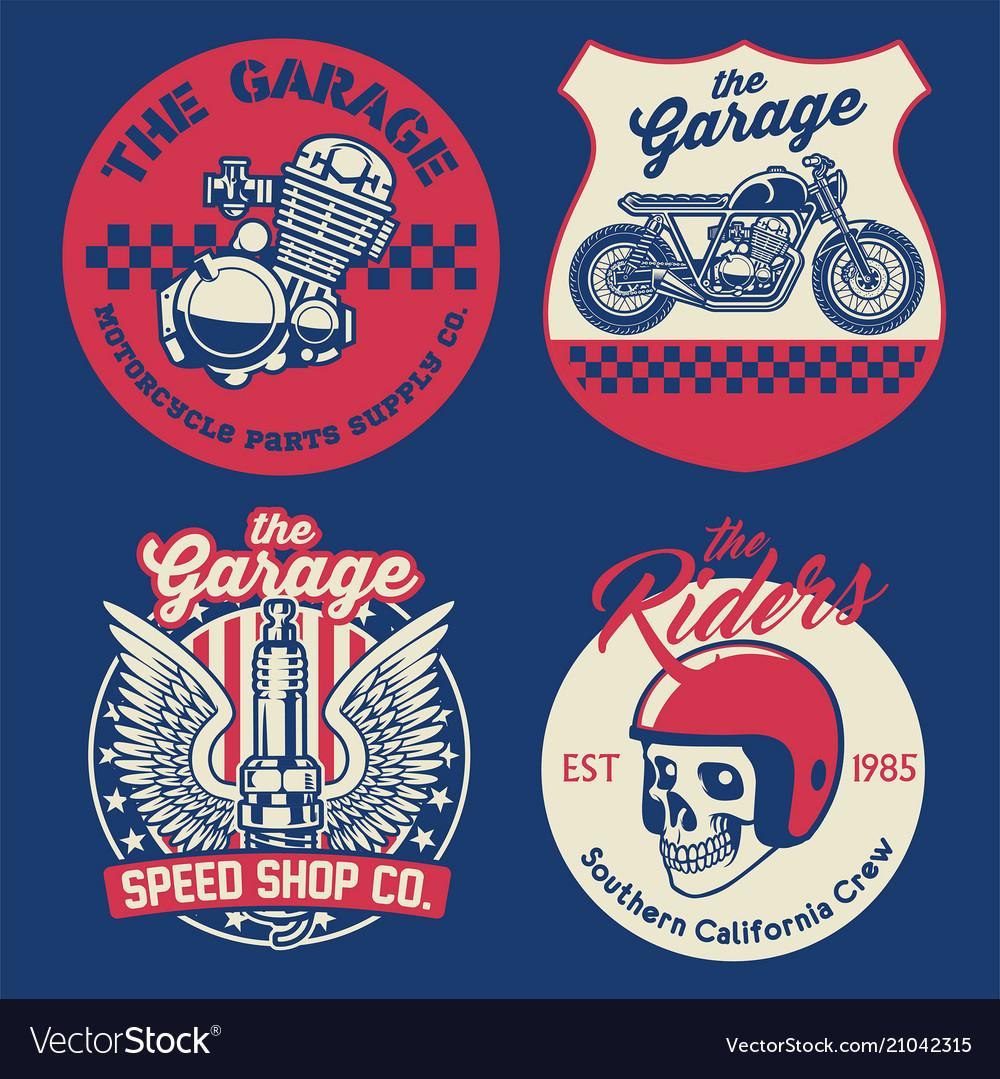 Vintage motorcycle badge set vector image