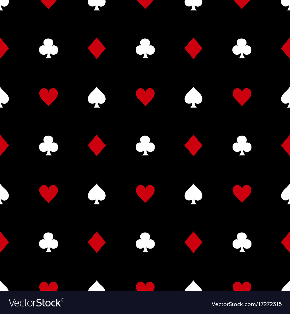 White and red card suits on black background