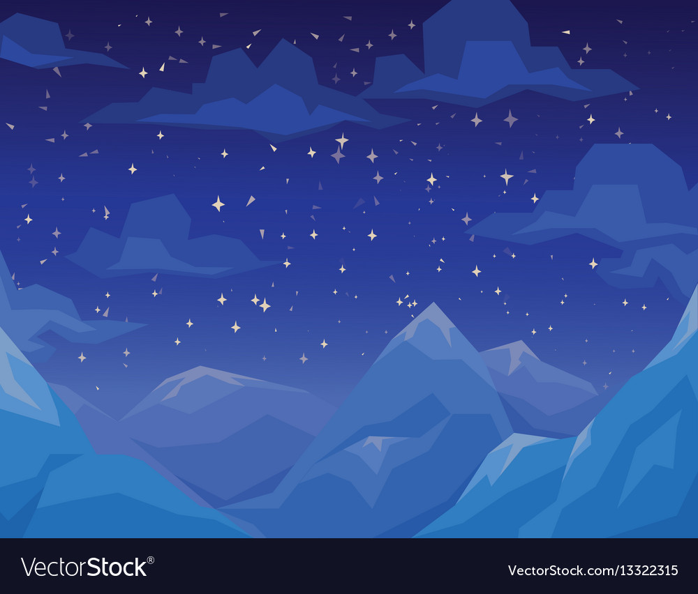Winter scene with mountains landscape night