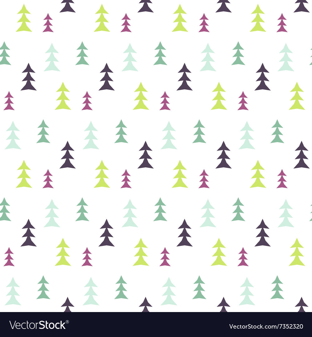 Abstract multicolor pine forest seamless pattern