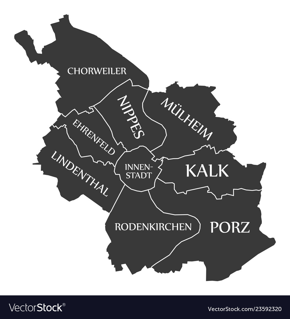 Cologne On Map Of Germany.Cologne City Map Germany De Labelled Black