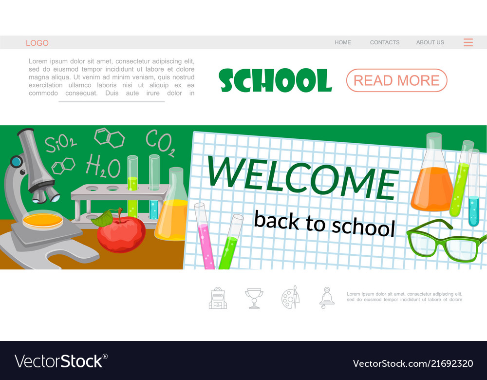 Flat school time landing page template