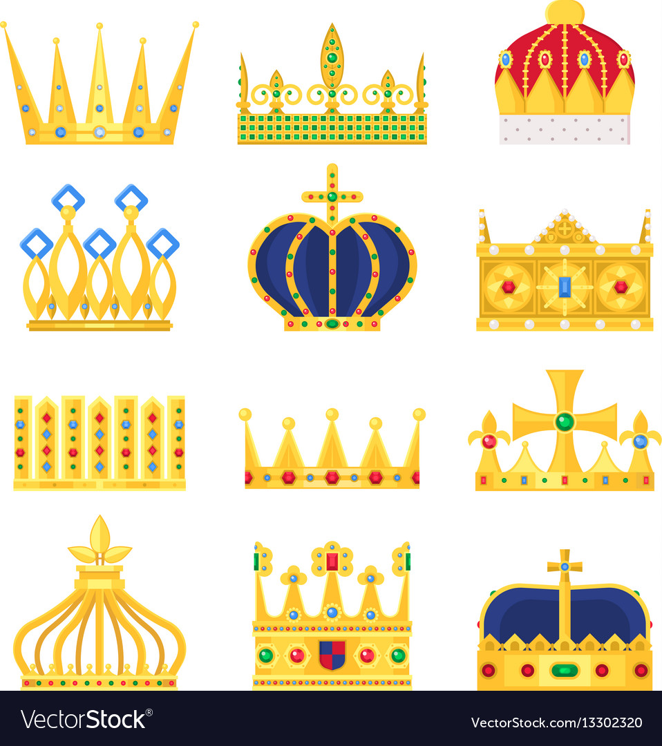 Gold Crown Of The King Icon Set Nobility Majestic Vector Image