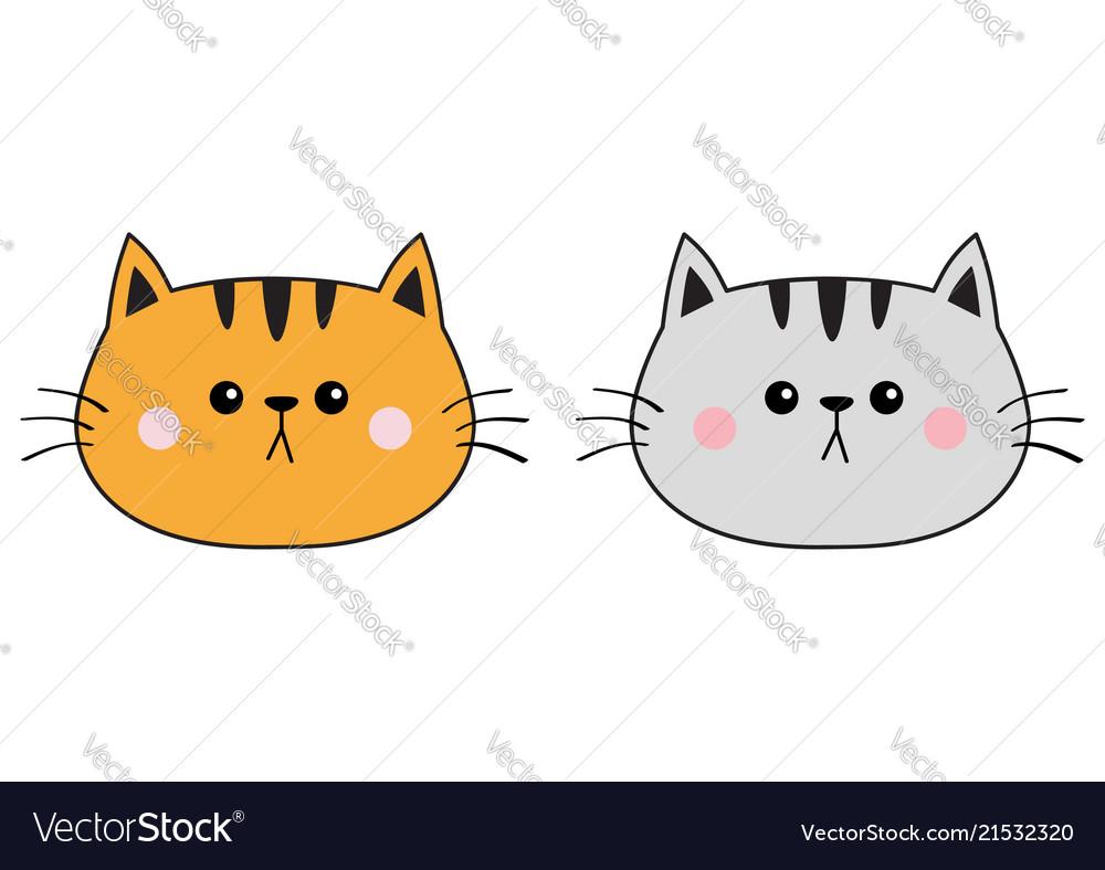 Gray orange red cat sad head face silhouette icon
