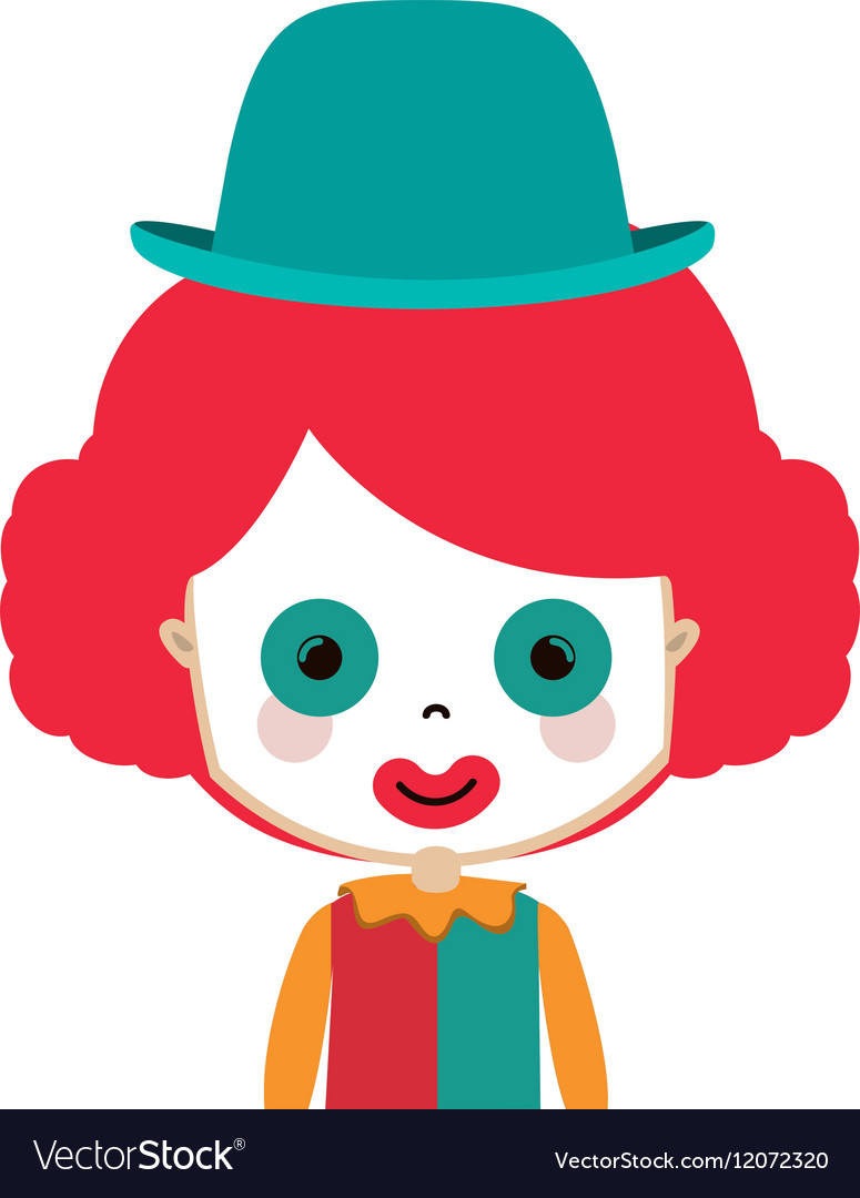 Half body funny small clown with hat vector image
