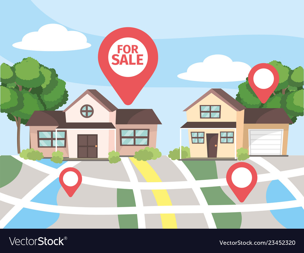Map location to house property sale Royalty Free Vector on